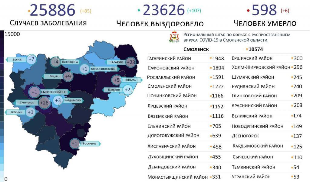 В Смоленской области новые случаи коронавируса выявили в 12 районах