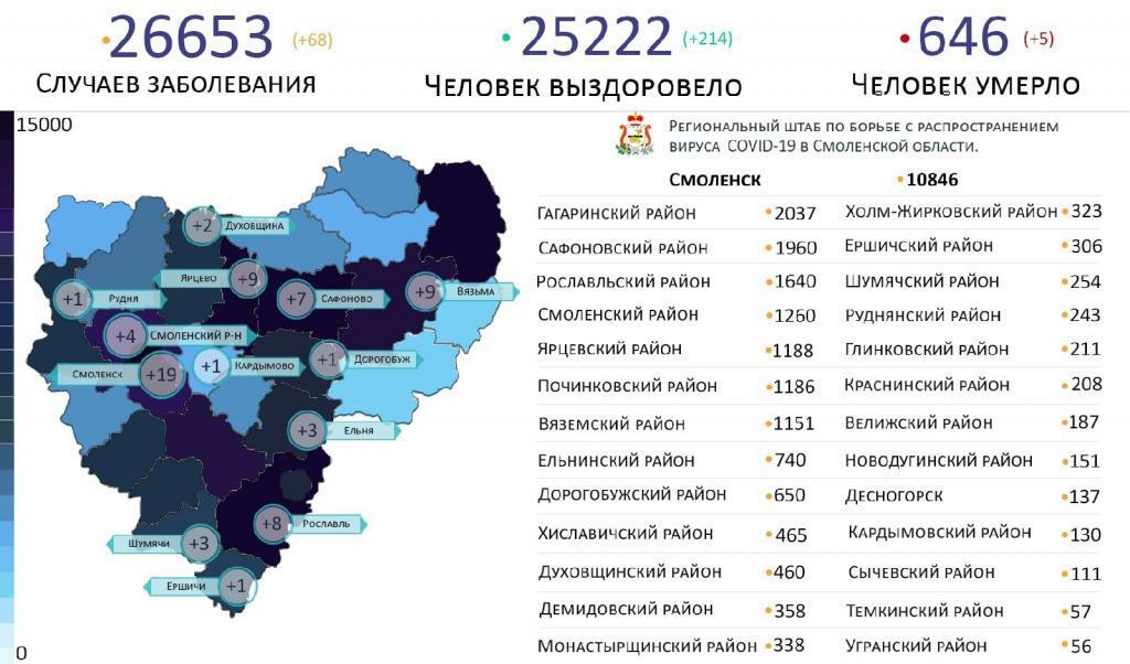 Новые случаи коронавируса в Смоленской области выявили на 13 территориях