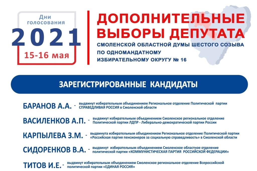 Мандат депутата Смоленской областной Думы разыграют пять кандидатов