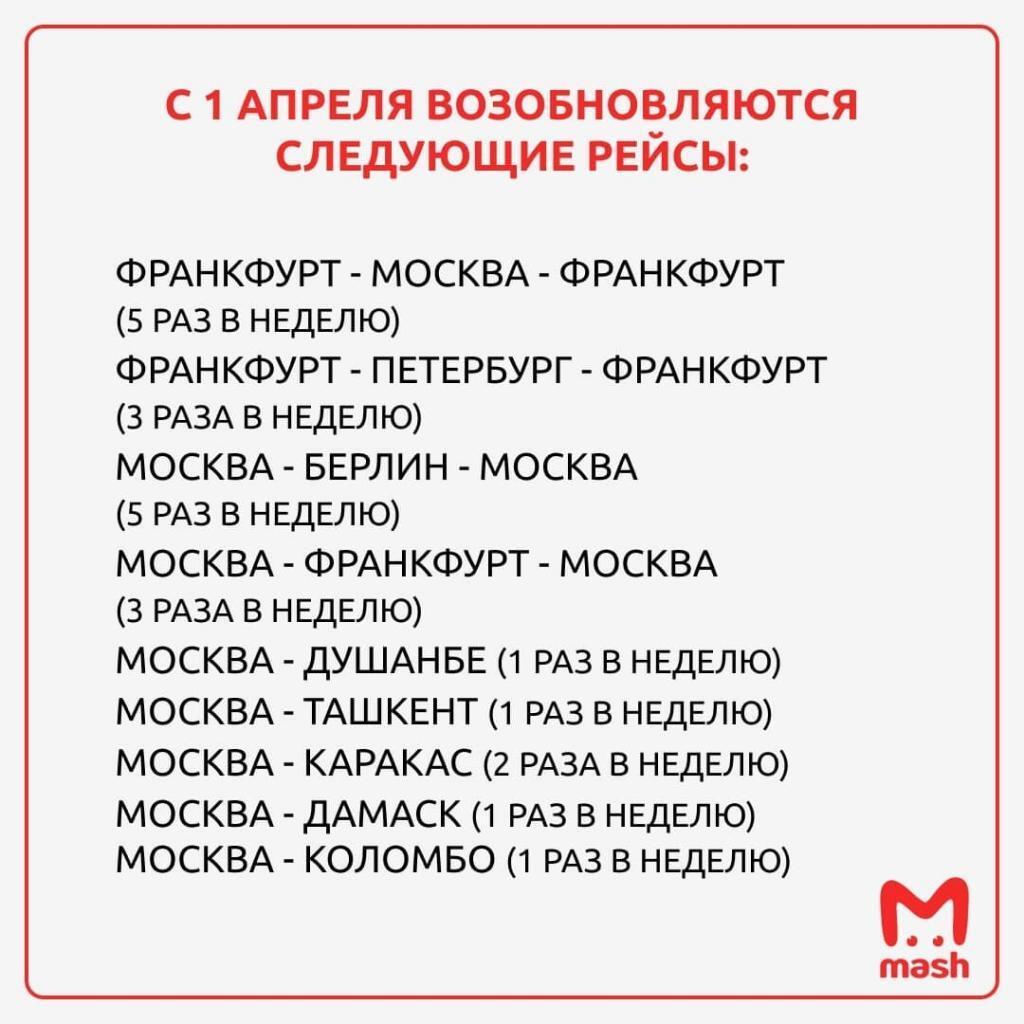 С 1 апреля Россия возобновит авиасообщение с шестью странами