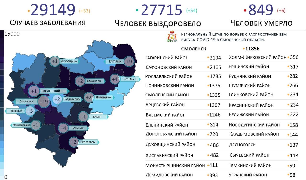 Новые случаи коронавируса в Смоленской области на 24 апреля выявили на 13 территориях