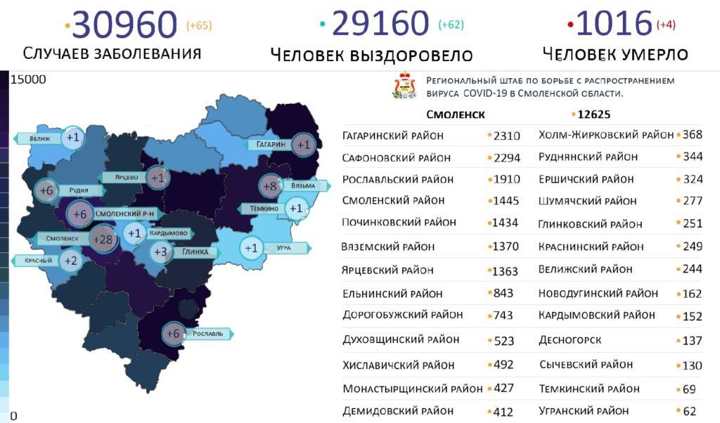 Новые случаи коронавируса в Смоленской области на 29 мая выявили на 13 территориях