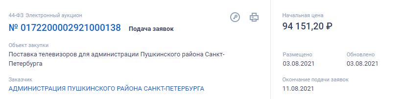 Администрация Пушкинского района купит телевизоров почти на 100 тысяч рублей